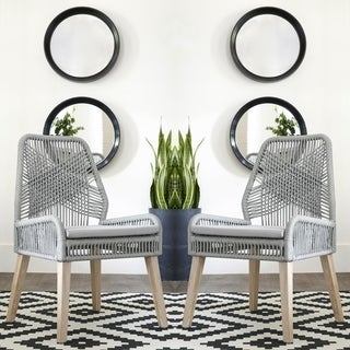 Nature Hand Crafted Design Grey Woven Rope and Mango Wood Dining Chairs (Set of 2)