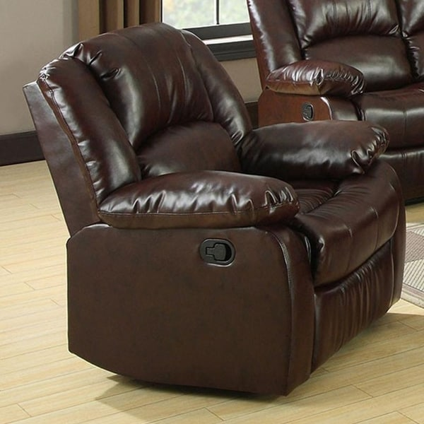 Williams Import Winslow Transitional Dark-brown Leather Recliner