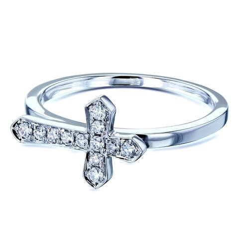 Annello by Kobelli 10k White Gold 1/8 Carat TDW Religious Diamond Cross Crucifix Adornment
