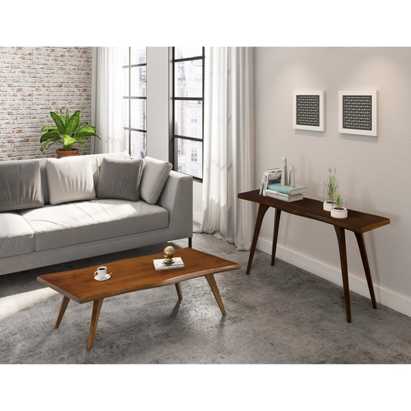 Martin Wave-Edge Brown/Grey Wood Cocktail Table