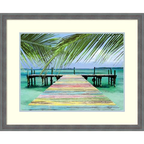Framed Art Print 'Rainbow Dock' by Steve Vaughn: Outer Size 33 x 27-inch