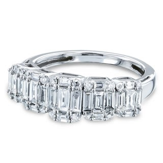 Annello By Kobelli 14k White Gold 7 8 Carats TDW Five Baguette Diamond Clusters Wedding Band