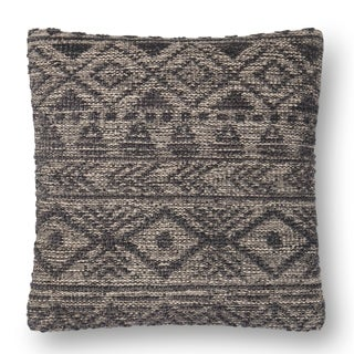 Woven Grey Farmhouse Wool 22-inch Pillow Cover