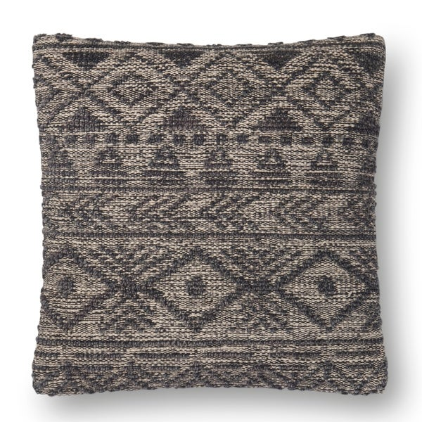 Shop Woven Grey Farmhouse Wool 22 Inch Pillow Cover On