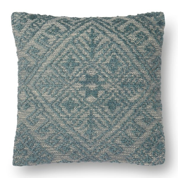 Woven Blue Farmhouse Wool 22 Inch Pillow Cover