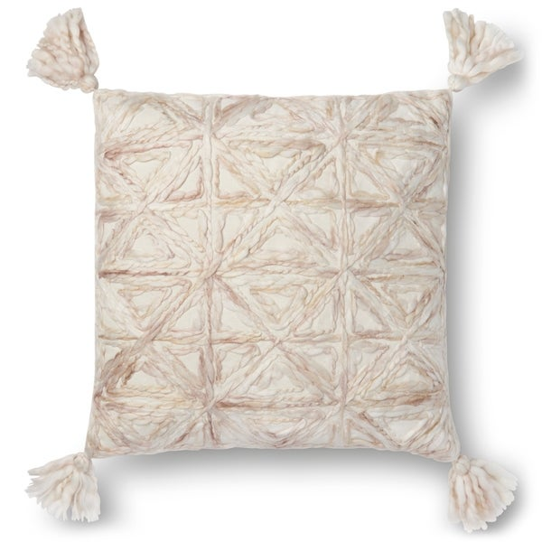 Woven Natural Ivory Geometric 22-inch Pillow Cover with Tassels