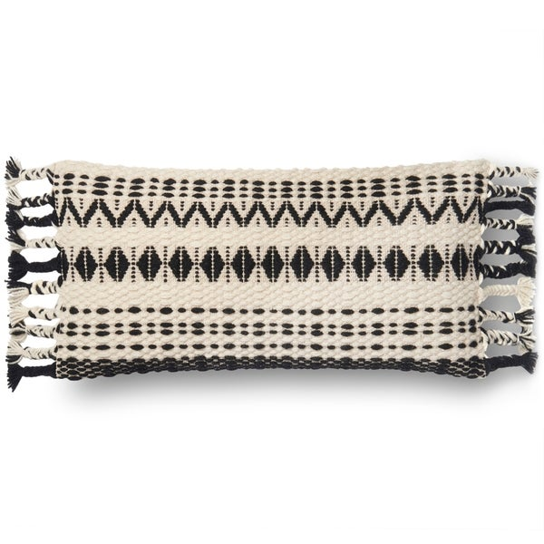 Woven Black/ White Geometric Wool 12 x 27 Throw Pillow with Tassels