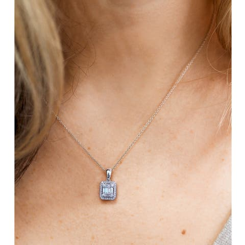 Annello by Kobelli 14k White Gold 1/4 Carat TDW Baguette Cluster Halo Pendant and 16 Inch Chain
