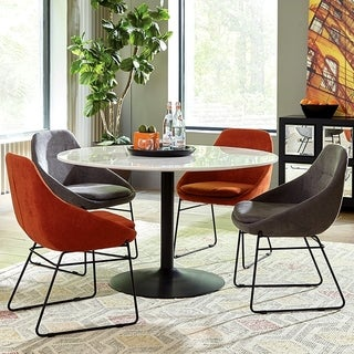 Modern Mid Century Classic Design Marble Top 5-piece Round Dining Set