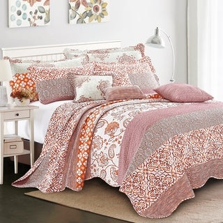 Serenta 9 Pieces Printed Striped Cotton Blend Bedspread Coverlet Set