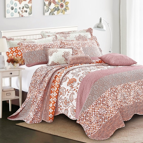 Serenta 9 Piece Printed Striped Cotton Blend Bedspread Coverlet Set