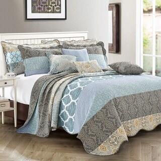 Serenta 9 Pieces Printed Striped Cotton Blend Bedspread Coverlet Set