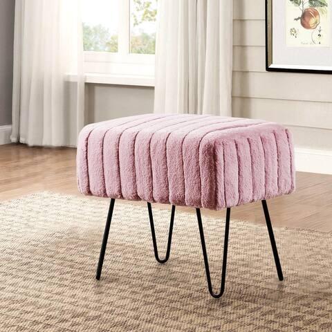 Serenta Super Mink Faux Fur Ottoman Bench - 33 Color Options