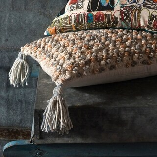 Shabby-chic Grey/ Tan Textured Wool 13 x 21 Pillow Cover with Tassels