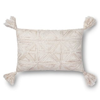 Woven Natural Ivory Geometric 13 x 21 Throw Pillow with Tassels