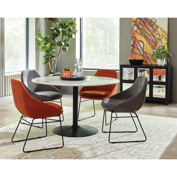 Modern Mid Century Classic Design Marble Top Round Dining Set with Mirrored Accent Cabinet