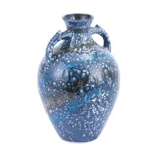 Porch & Den Parkview Small Blue Dappled Pattern Ceramic Bottle