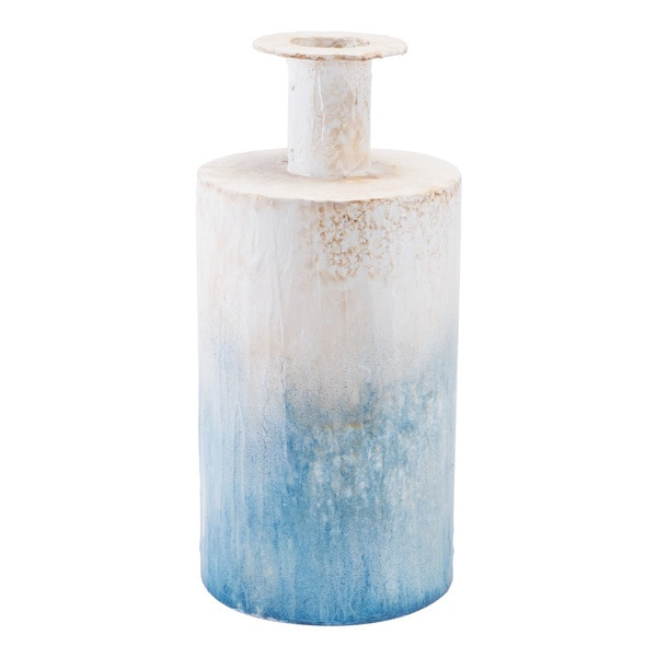 Porch & Den Madrona Large Blue and White Steel Bottle