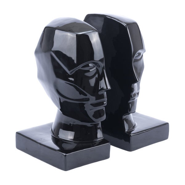 Strick & Bolton Black Ceramic Face Bookends (Set of 2)