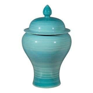 Porch & Den Rutan Blue Ceramic Decorative Jar