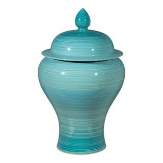 Aralia Blue Ceramic Decorative Jar - N/A