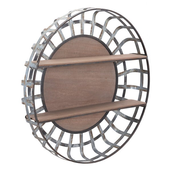 Carbon Loft Grey and Brown Round Wall Shelf