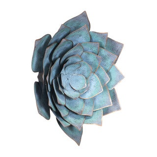 Porch & Den Large Distressed Blue Steel Lotus Wall Decor