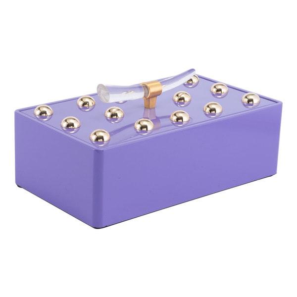 Silver Orchid Lefeuvrier Violet Large Lidded Decorative Box