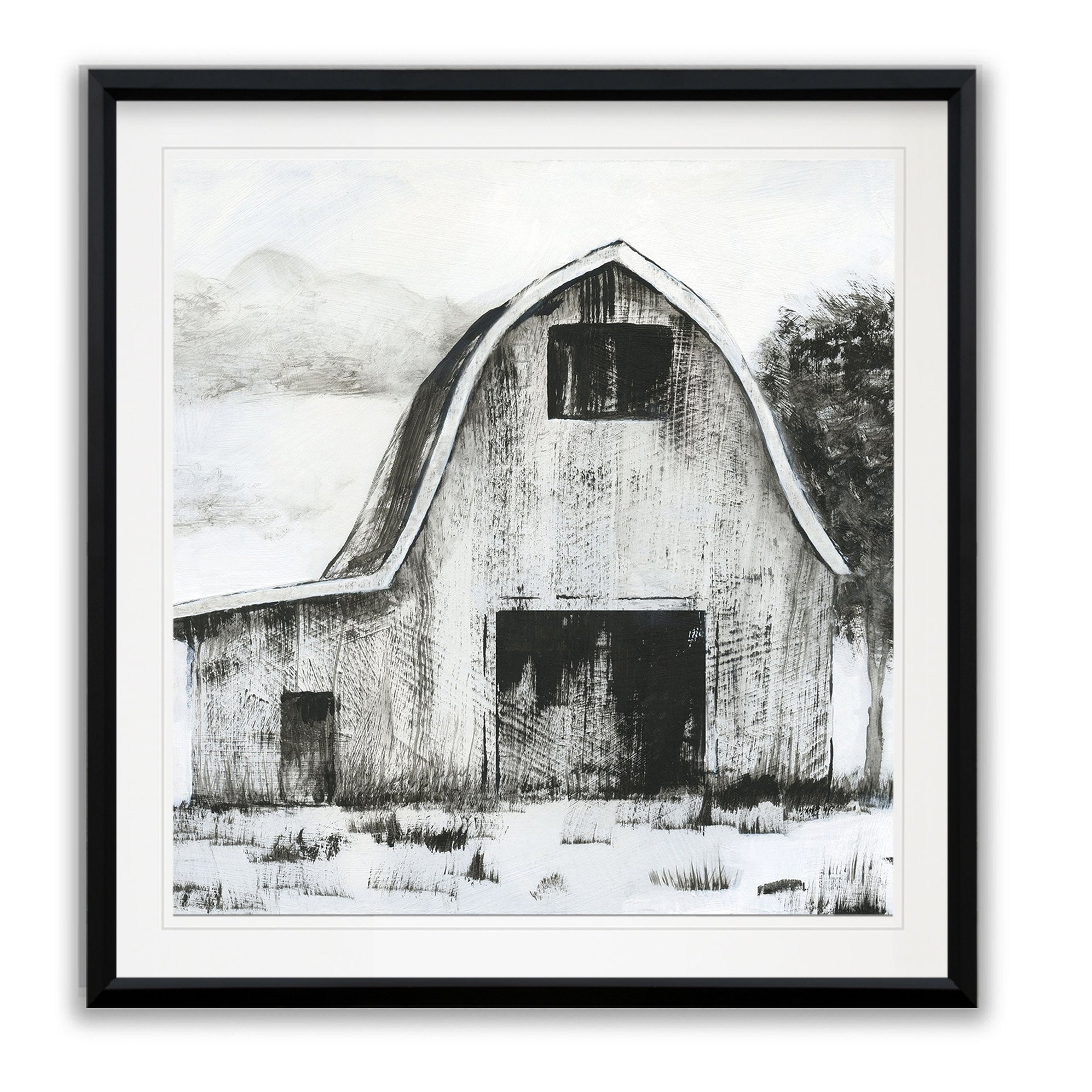 Black White Barn Ii Framed Giclee Print Overstock 24253055