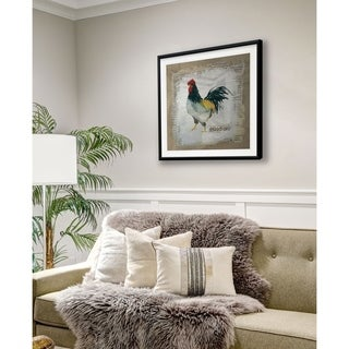 Burlap Rooster -Framed Giclee Print