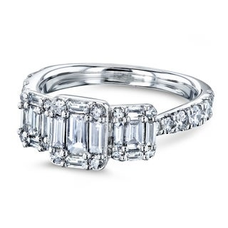 Annello by Kobelli 10k White Gold 1 Carat TDW Triple Cluster Baguette Diamond Pinched Shank Engagement Ring