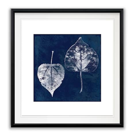 Cyanotype Aspen Leaves -Framed Giclee Print
