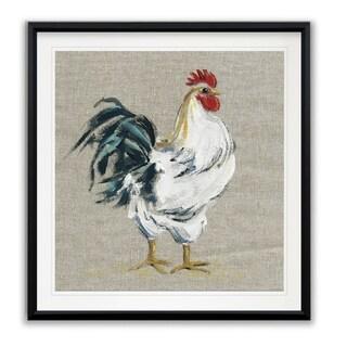 Linen Rooster I -Framed Giclee Print