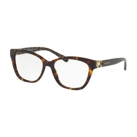Coach Square HC6120 Women DARK TORTOISE Frame DEMO Lens Eyeglasses