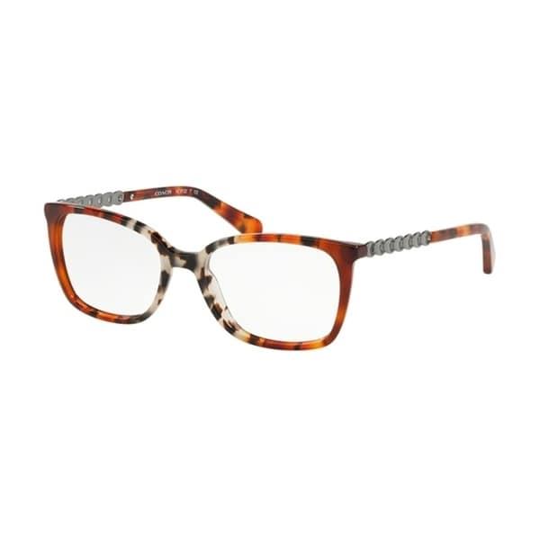 41c3287472d7 Coach Square HC6122 Women AMBER GREY MULTI TORT Frame DEMO LENS Lens  Eyeglasses