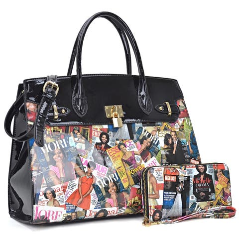 ce92c10f6185 Michelle Obama Magazine Cover Printed Patent Leather Satchel with padlock  deco and with Matching wallet