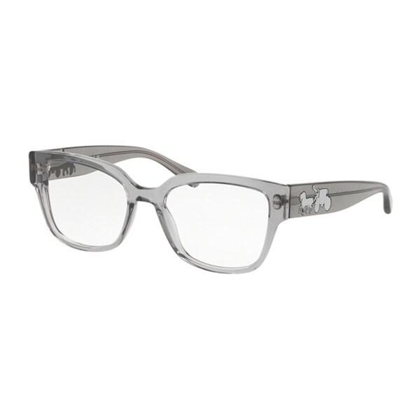 a91a175fc119 Coach Square HC6126 Women GREY TRANS Frame DEMO LENS Lens Eyeglasses