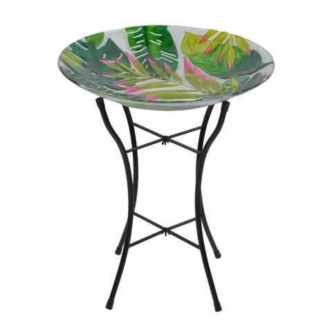 """Peaktop - Outdoor 18"""" Glass Birdbath"""
