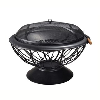 Peaktop - Outdoor 30-Inch Round Steel Wood Burning Fire Pit