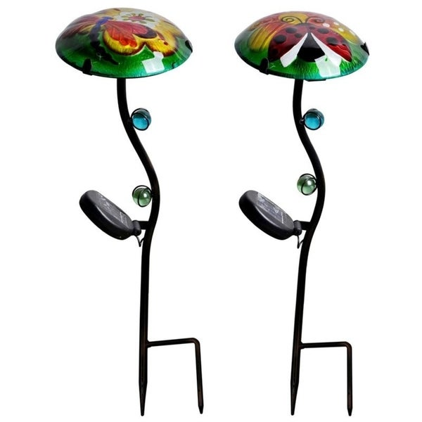 Peaktop Outdoor Set Of 2 Fusion Gl Solar Lantern Dragonfly Ladybug
