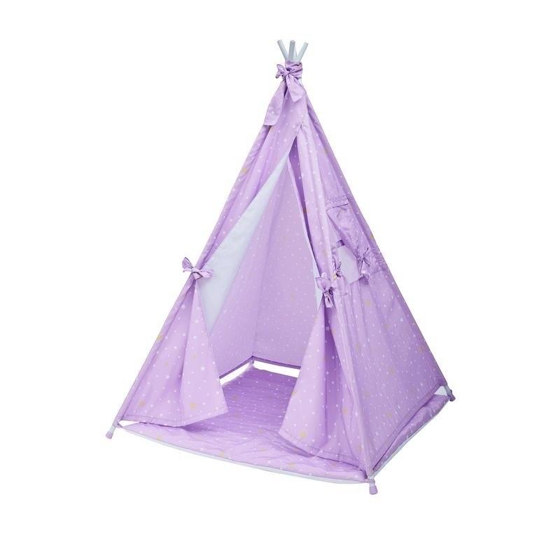 new product 88371 2f13a Teamson Kids - Happy Land Twinkle star Kids Teepee Tents - Purple / White