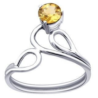 Orchid Jewelry 0.45 Ct Citrine Sterling Silver Unique Ring for Women