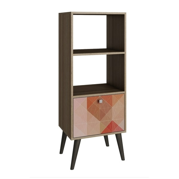 HomeRoots Furniture Sophisticated Sami Double Bookcase with 2 Open Shelves and 1 Drawer in Oak and a Coloful Stamp Door