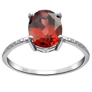 Solitaire Womens Sterling Silver Ring 1.5 Ct. Garnet by Orchid Jewelry