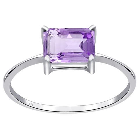 Amethyst Sterling Silver Octagon Solitaire Ring by Orchid Jewelry