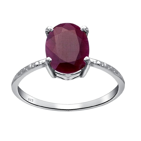 Solitaire Star Ruby Ring Sterling Silver or 14K Yellow Gold Plated Silver