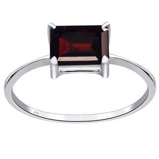 Orchid Jewelry Sterling Silver Wedding Ring 1.25 Ct. Solitaire Garnet