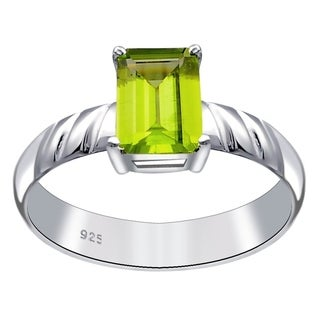 1 10 Ctw Green Peridot Sterling Silver Wedding Ring For Women