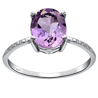 Orchid Jewelry Solitaire Womens Sterling Silver Ring 1.1 Ct. Amethyst