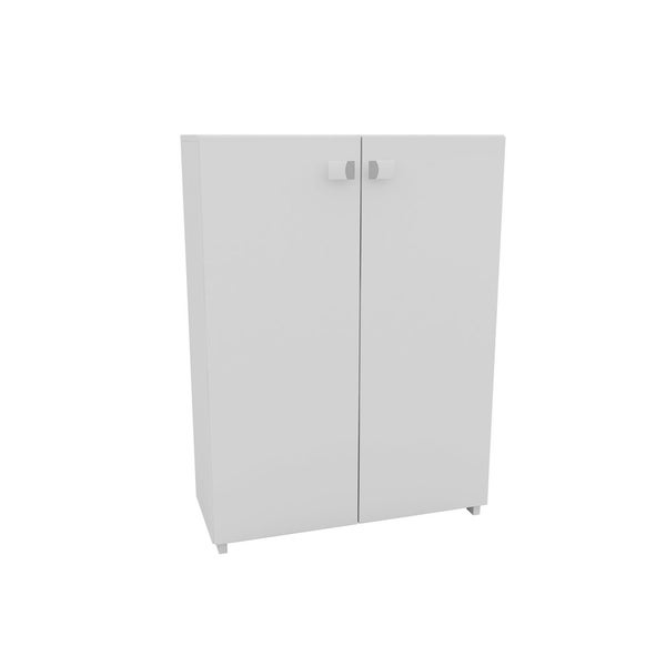 HomeRoots Furniture Sophisticated Navarra Zig Zag Shoe Closet with 8 Shelves in White